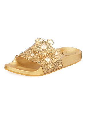 MARC JACOBS Daisy Pave Aqua Pool Slide Sandal