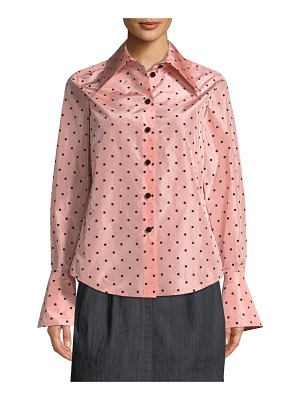 Marc Jacobs Long-Sleeve Flocked-Dot Button-Down Silk Blouse w/ Cuff Detail