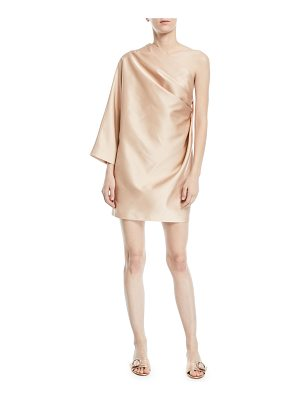 MARC JACOBS One-Shoulder Satin Draped Mini Cocktail Dress With Back Detail