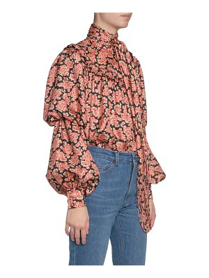 Marc Jacobs Paisley-Print Puffy-Sleeve Blouse