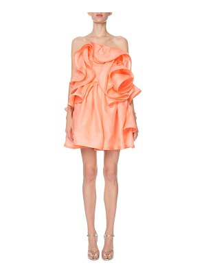 Marc Jacobs Strapless Ruffled Rosette Silk Cocktail Dress