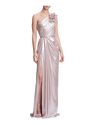 Marchesa 3-D Floral One-Shoulder Draped Evening Gown w/ Front Slit