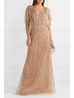 Marchesa cape-effect embellished tulle gown