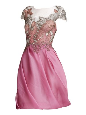 Marchesa embellished abstract butterfly organza cocktail dress