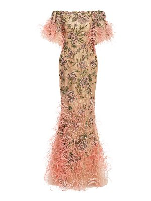 Marchesa embellished off-the-shoulder gown