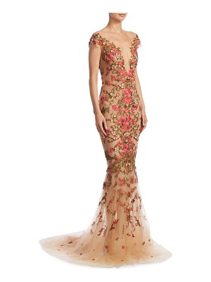 MARCHESA Floral Emboidered Illusion Gown