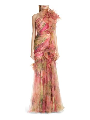 Marchesa floral one-shoulder silk evening dress