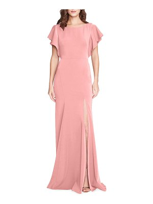 Marchesa Notte Bridesmaid Boat-Neck Ruffle-Sleeve Slit Gown