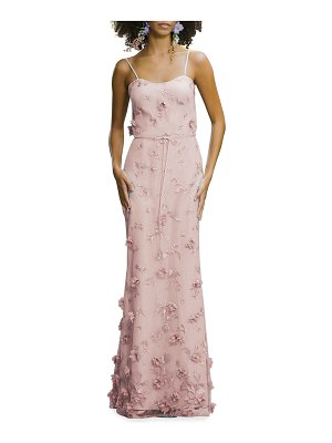 Marchesa Notte Bridesmaid Embroidered 3D Applique Cami Gown
