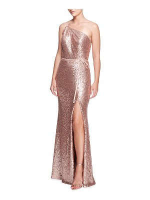 Marchesa Notte Bridesmaid Sequined One-Shoulder Gown with Slit