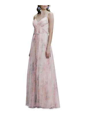 Marchesa Notte Bridesmaid Watercolor-Print Tulle Double-Strap Cami Gown