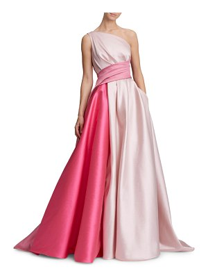 Marchesa One-Shoulder Draped Bow-Back Colorblock Gown