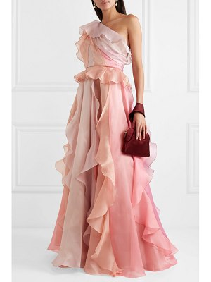 Marchesa one-shoulder ruffled silk-organza gown