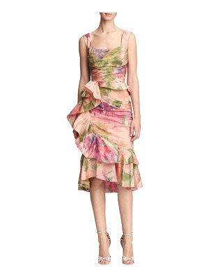 Marchesa printed taffeta peplum cocktail dress