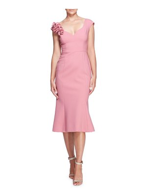 Marchesa rouched floral sheath dress