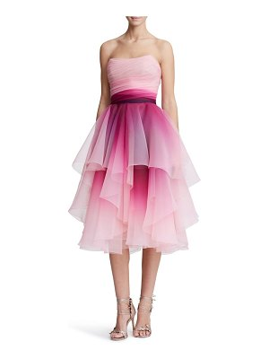 Marchesa strapless ombre organza cocktail dress