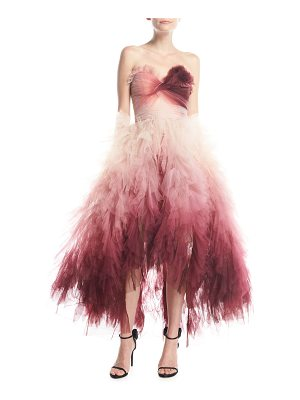 MARCHESA Strapless Ombré Ruffled High-Low Midi Cocktail Dress