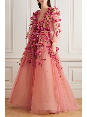 Marchesa velvet-trimmed embellished embroidered ombré tulle gown