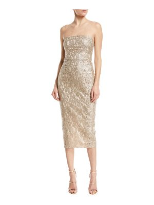 MARIA BIANCA NERO Emily Strapless Metallic Lace Back-Ruffle Cocktail Dress