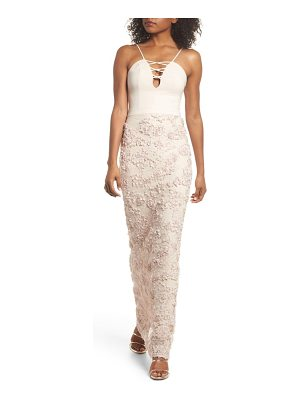 MARIA BIANCA NERO Jessie Strappy Lace Sheath Gown