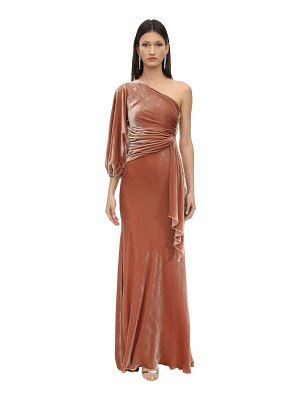 Maria Lucia Hohan Amaris draped one shoulder velvet dress