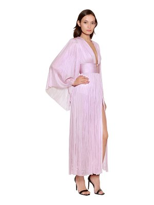 Maria Lucia Hohan Long sleeve silk plissé midi dress