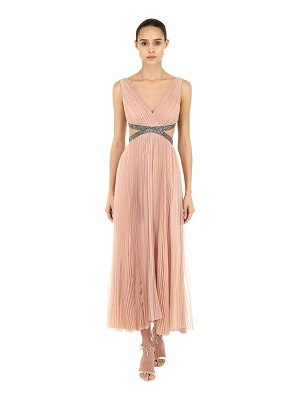 Maria Lucia Hohan Pleated tulle midi dress w/embellishment