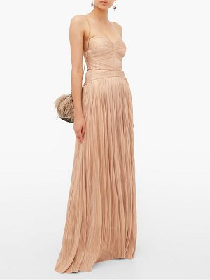 Maria Lucia Hohan saida lace-up silk strapless maxi dress