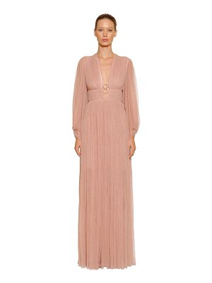Maria Lucia Hohan V neck hoops pleated tulle long dress