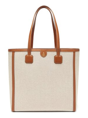 Mark Cross antibes large leather-trimmed canvas tote