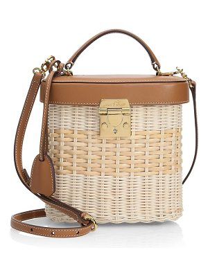 Mark Cross benchly leather-trimmed rattan crossbody bag