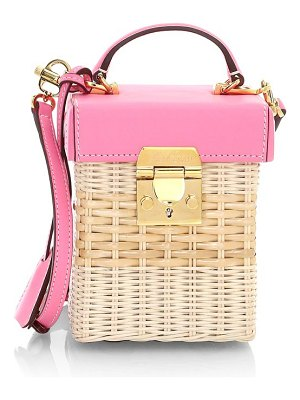 Mark Cross grace leather-trimmed rattan crossbody cube bag