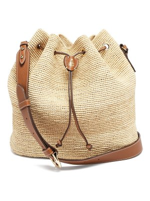 Mark Cross joni leather-trimmed raffia bucket bag