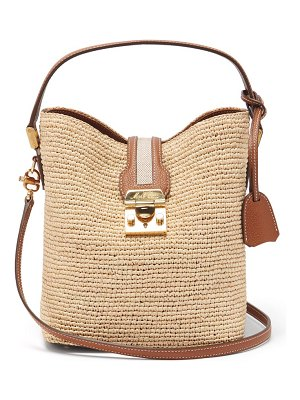 Mark Cross murphy leather-trimmed raffia bag