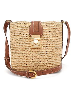 Mark Cross murphy mini leather and raffia cross-body bag