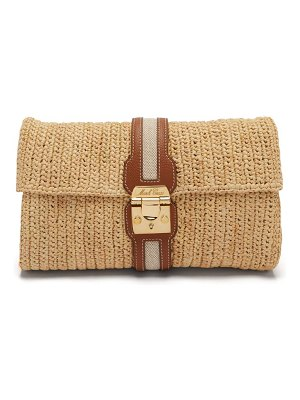 Mark Cross sylvette leather-trimmed raffia clutch