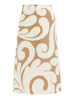 Marni arabesque swirl-print cotton-blend skirt