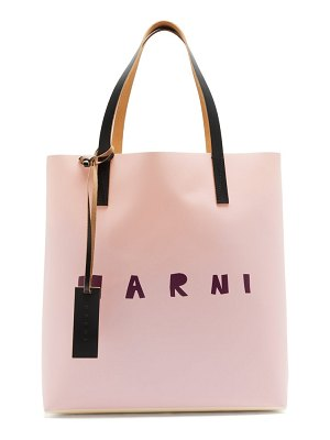 Marni logo-print coated-canvas tote bag