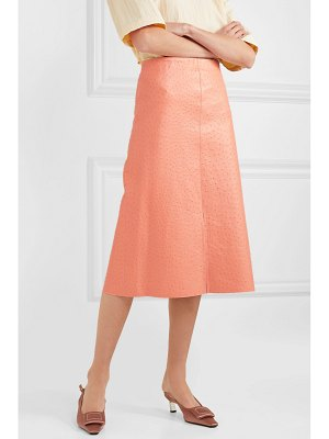 Marni ostrich-effect leather midi skirt