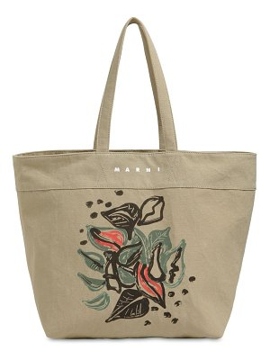 Marni Printed cotton canvas tote bag