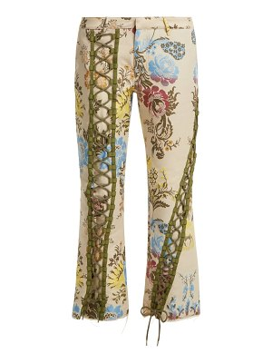 MARQUES ALMEIDA lace up floral jacquard trousers