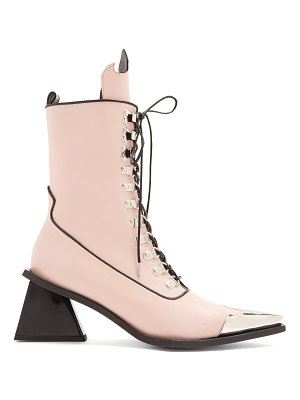 MARQUES ALMEIDA Point-toe lace-up 'MA' leather ankle boots