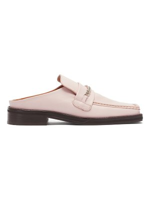 MARTINE ROSE curb-chain square-toe leather loafers