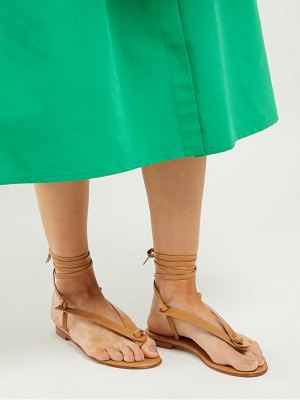 Martiniano bibiana tie fastening flat leather sandals