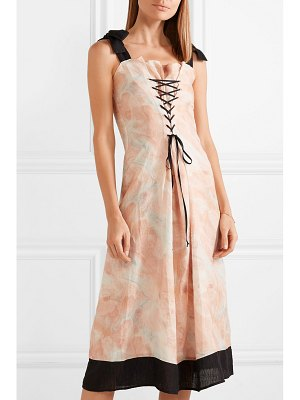 Marysia Swim santaquin lace-up printed linen midi dress