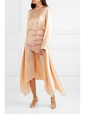 MATÉRIEL belted asymmetric silk-satin midi dress