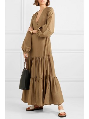 MATIN tiered silk and cotton-blend voile wrap maxi dress