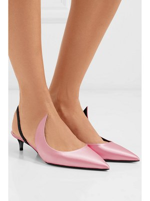 Matteo Mars kitten ala satin and patent-leather slingback pumps