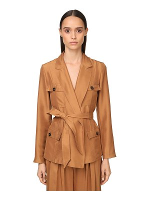 Max Mara Belted light silk shantung field jacket
