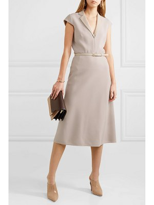 Max Mara belted silk and leather-trimmed stretch-wool midi dress